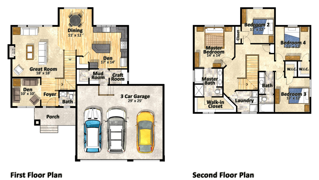 Plans sketches residential renderings for Mn home builders floor plans