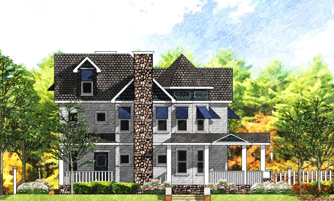 2d Front Elevation For Residential : D elevations residential renderings